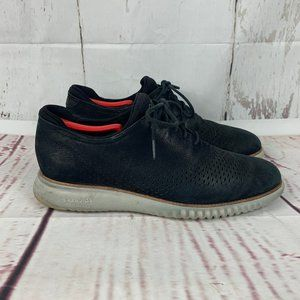 Cole Haan 2 Zerogrand Black Wingtip Nubuck Shoes
